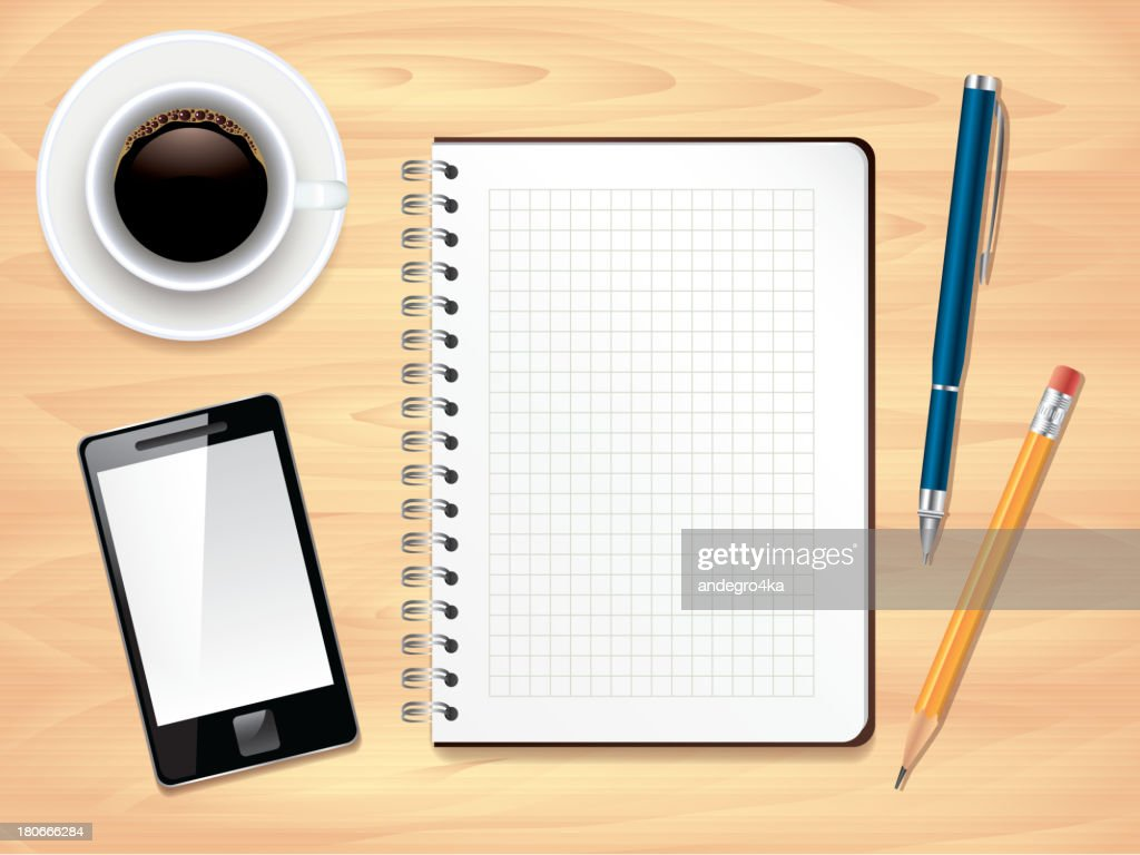 Notepad on office desk top view, vector