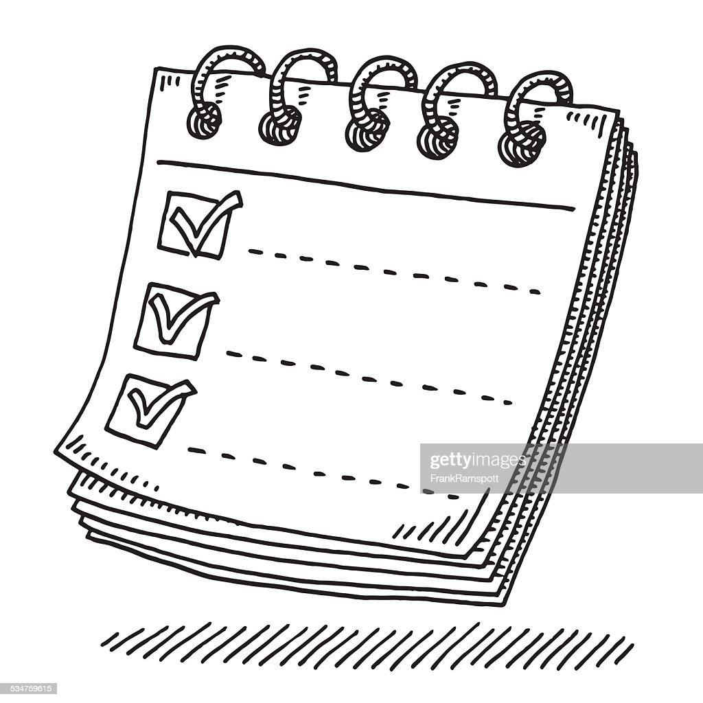 Notepad Paper Tick Mark Drawing : stock illustration