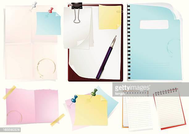 ilustrações, clipart, desenhos animados e ícones de um bloco de notas & papel - clipe de papel