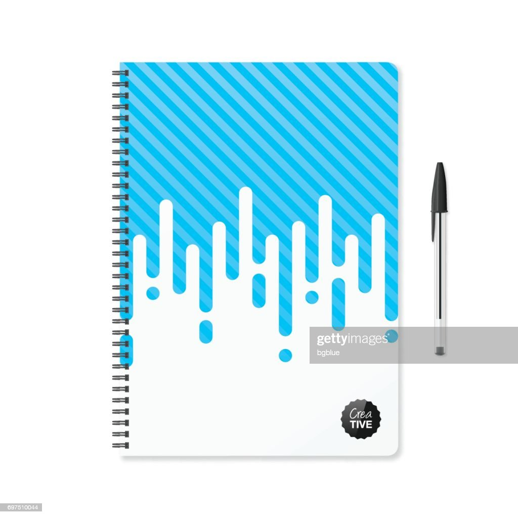 Notepad template with abstract blue background and ballpoint pen : stock illustration