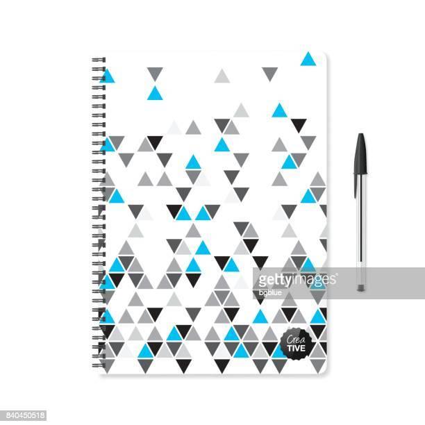 Kladblok sjabloon met abstracte geometrische achtergrond en balpen