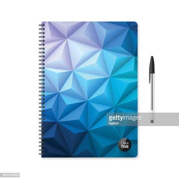ilustrações, clipart, desenhos animados e ícones de modelo de bloco de notas com fundo geométrico abstrato e caneta esferográfica - livro didático