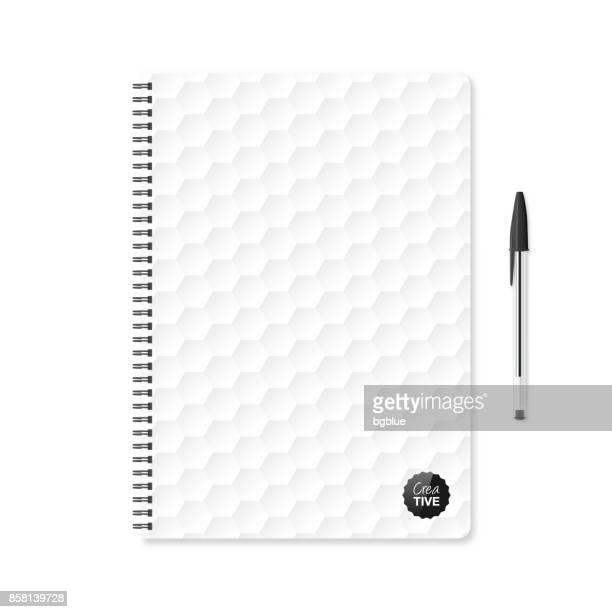 notepad template with white abstract background and ballpoint pen - ballpoint pen stock illustrations, clip art, cartoons, & icons