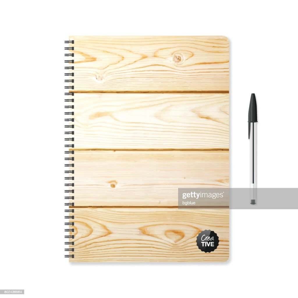 Notepad Template With Wooden Background And Ballpoint Pen Vector Art ...