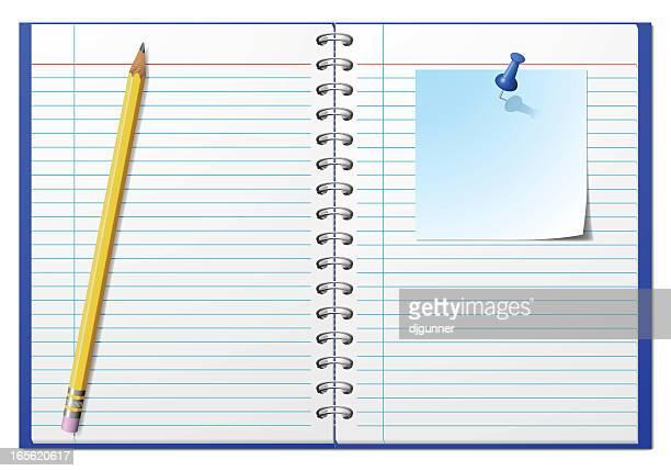 ilustrações, clipart, desenhos animados e ícones de bloco de notas - livro de exercícios