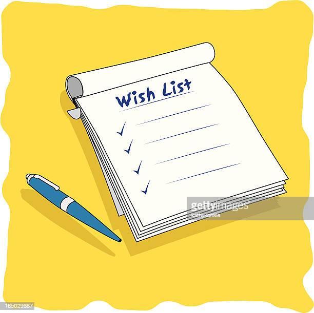 Bloc-notes de la liste de souhaits