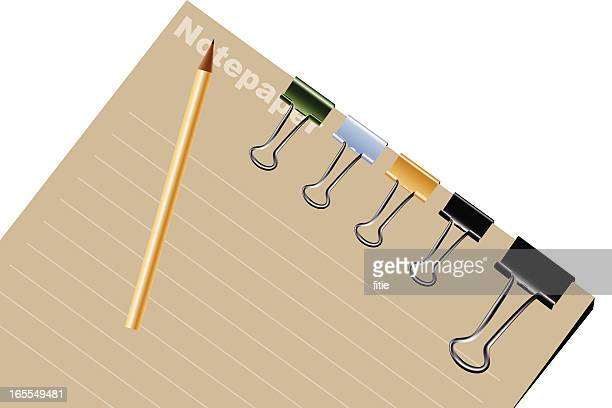 notepad with binder clips and pencil - binder clip stock illustrations