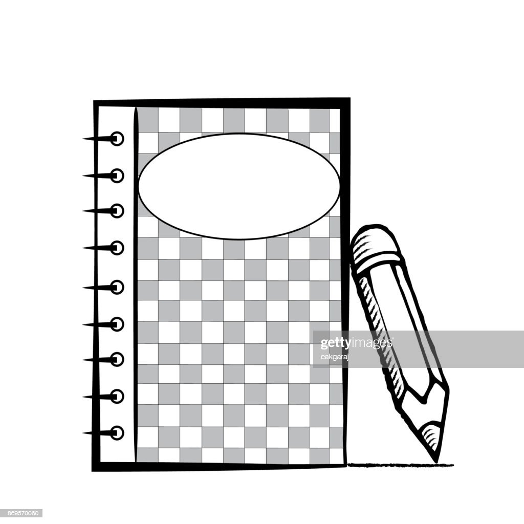 Notepad with pencil on white background. Template for advertising. Notebook in doodles style.