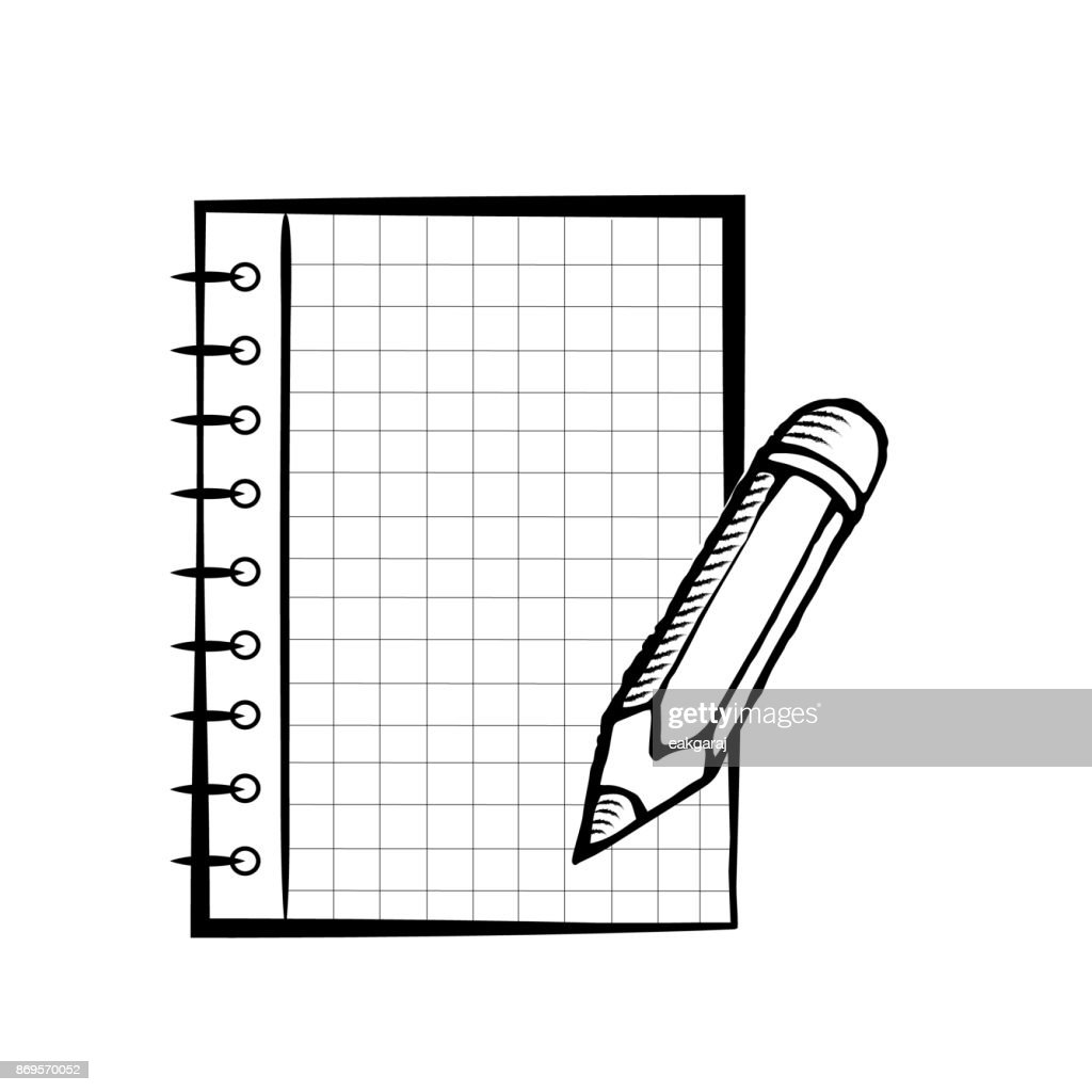 Notepad with pencil on white background. Template for advertising. Notebook or stationery in doodles style.