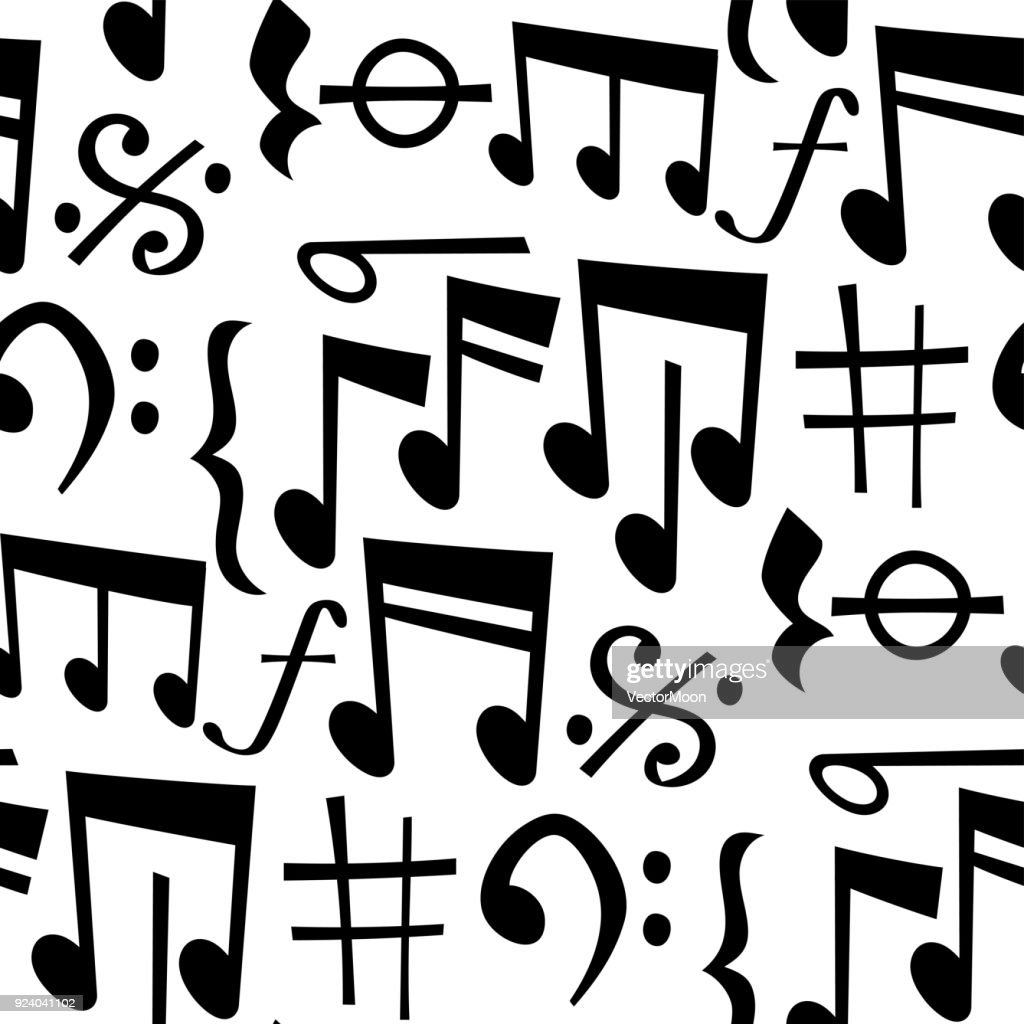 Notes music melody colorfull musician symbols sound melody text writting audio symphony seamless pattern background vector illustration
