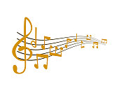 Notes music vector melody colorfull musician symbols sound notes melody text writting audio musician symphony illustration