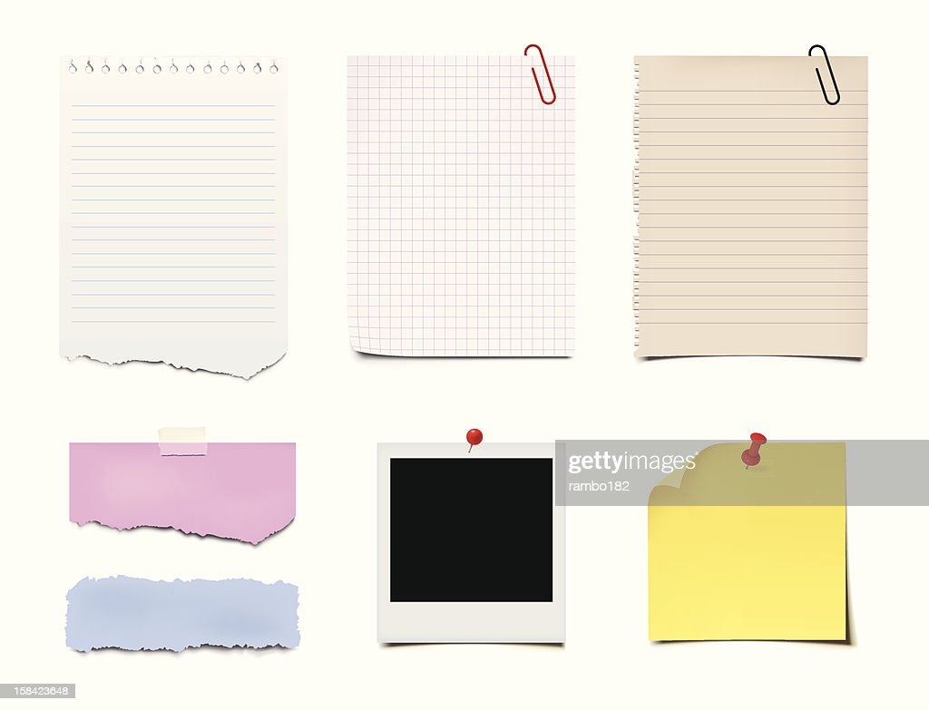 Notes, Post-it and Paper : stock illustration