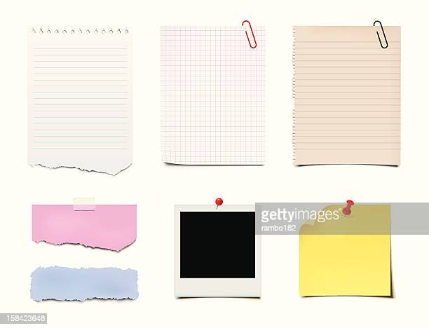 notes, post-it and paper - paper clip stock illustrations, clip art, cartoons, & icons