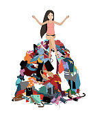 Nothing to wear concept, young attractive stressed woman seating in a pile of messy clothes gotten out of closet. Vector illustration