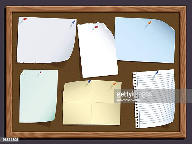 notice board with notes - thumbtack stock illustrations, clip art, cartoons, & icons