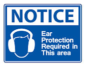 Notice Ear Protection Required In This Area Symbol Sign on transparent background,Vector Illustration