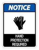 Notice Hand Protection Required Sign on white background