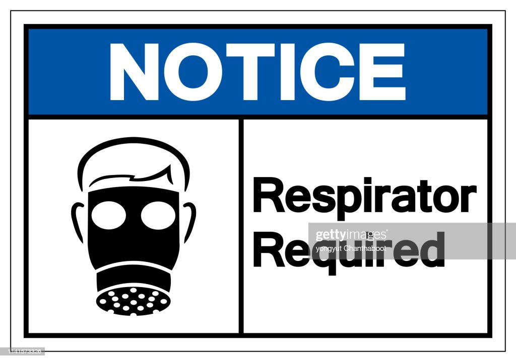 Notice Respirator Required Symbol Sign, Vector Illustration, Isolate On White Background Label. EPS10