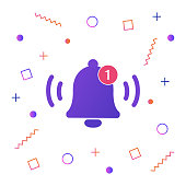 Notification bell icon for incoming inbox message. Vector ringing bell and notification number sign for alarm clock and smartphone application alert