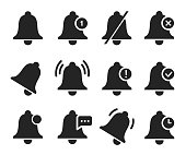 Notification bell set, sound signal element design