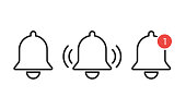 Notification bells icon isolated. Reminder or alarm message. Interface smartphone element.