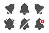 Notification icons. Message bells, reminder application and smartphone notifications bell icon isolated vector set