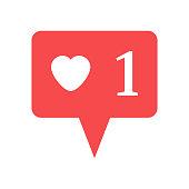 Notification in Social Media. One heart