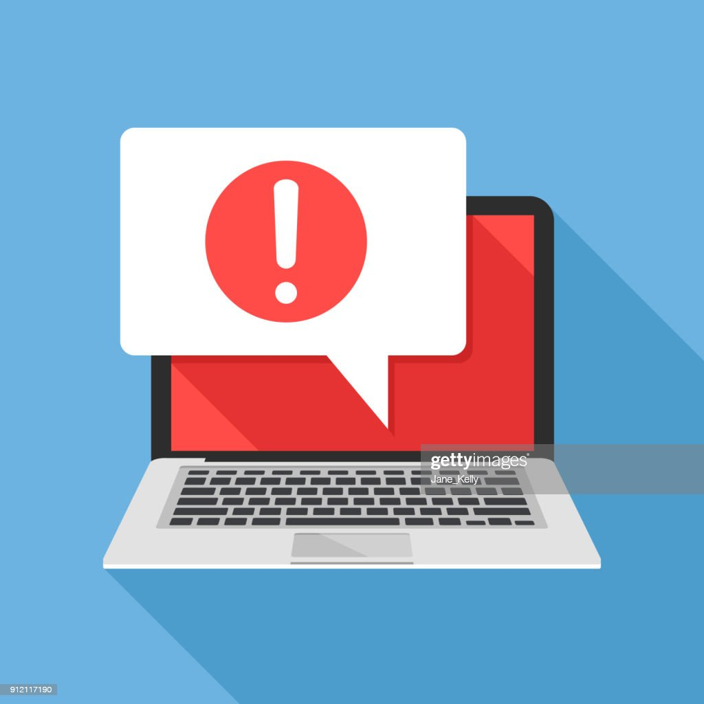 Notification. Laptop and speech bubble with exclamation mark icon on screen. Computer message, warning concepts. Modern flat design graphic elements. Long shadow design. Vector illustration