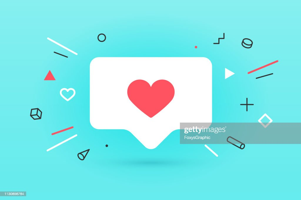 Notifications icon Like, speech bubble. Like icon with heart : stock illustration