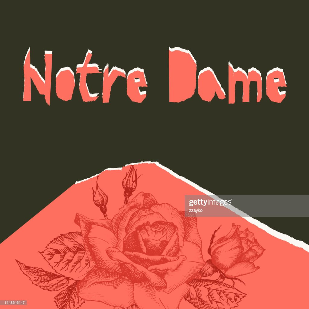 Notre Dame de pary poser. Torn paper style. Roses flower theme Creative design background for social media post, publishing, blogs. Red and black color