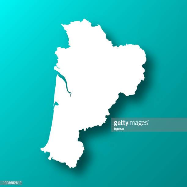 nouvelle-aquitaine map on blue green background with shadow - gironde stock illustrations
