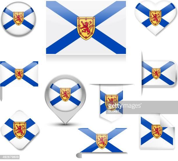 nova scotia flag collection - flag of nova scotia stock illustrations