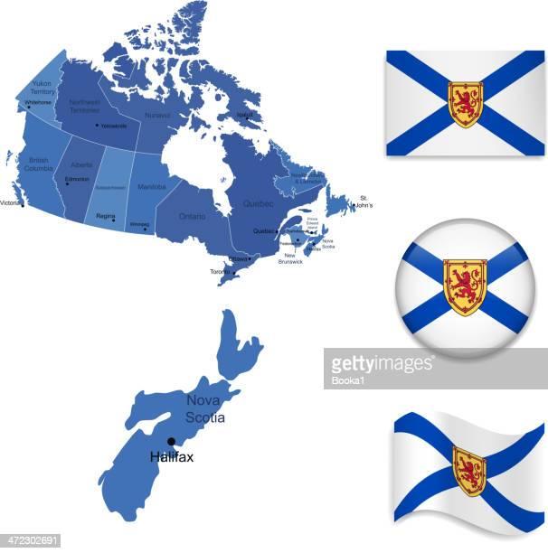 nova scotia province set - flag of nova scotia stock illustrations