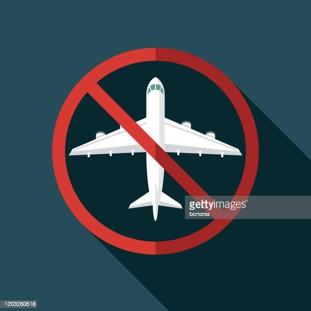 illustrazioni stock, clip art, cartoni animati e icone di tendenza di icona delle cancellazioni dei voli covid-19 - annullamento