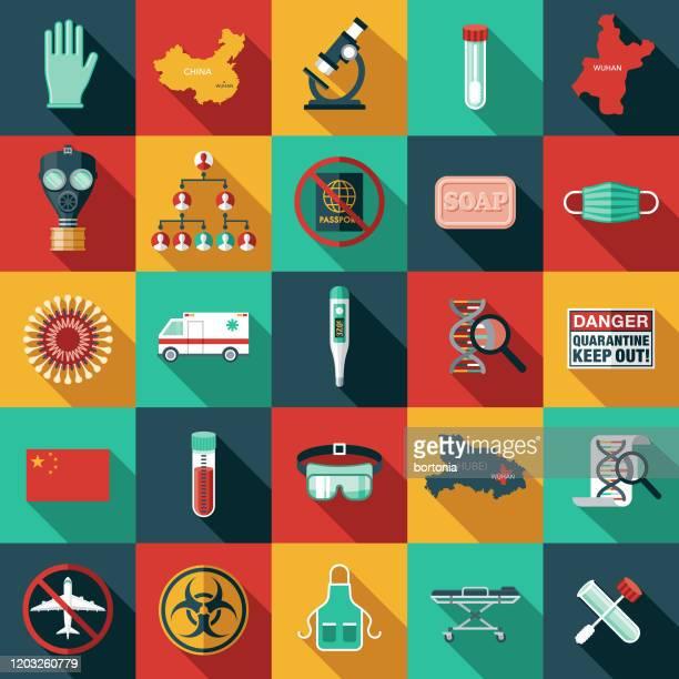 ilustrações, clipart, desenhos animados e ícones de conjunto de ícones do coronavírus de wuhan - coronavirus
