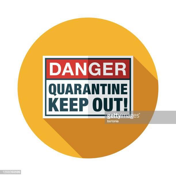 novel coronavirus covid-19 quarantine sign icon - danger stock illustrations