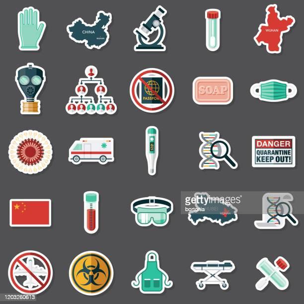 武漢コロナウイルスステッカーセット - バイオハザードマーク点のイラスト素材/クリップアート素材/マンガ素材/アイコン素材