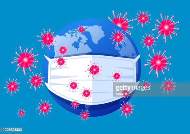 2019 novel coronavirus pneumonia spreading worldwide,virus crisis, planet wearing medical mask - infectious disease stock illustrations