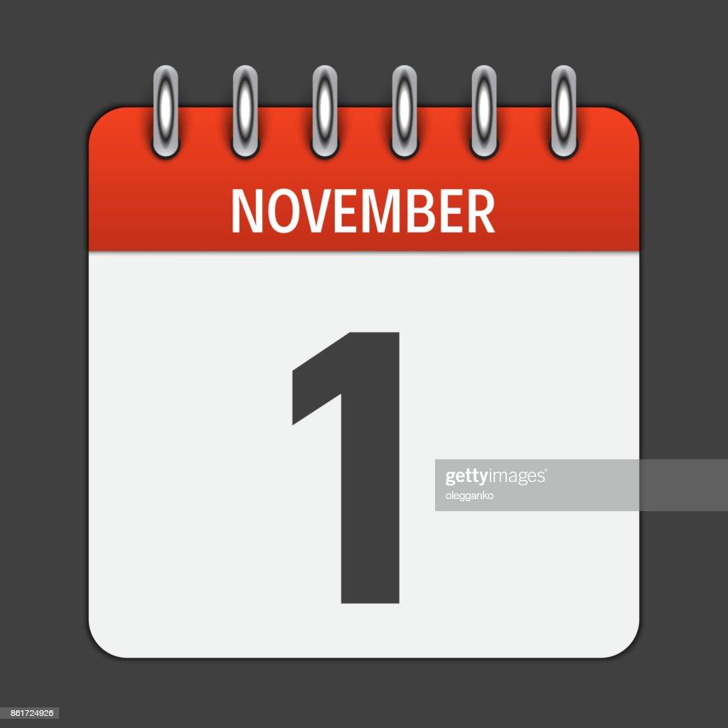 November 1  Calendar Daily Icon. Vector Illustration Emblem. El
