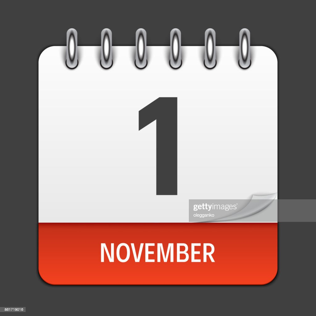 November 1  Calendar Daily Icon. Vector Illustration Emblem. Element of Design for Decoration Office Documents and Applications. Logo of Day, Date, Month and Holida
