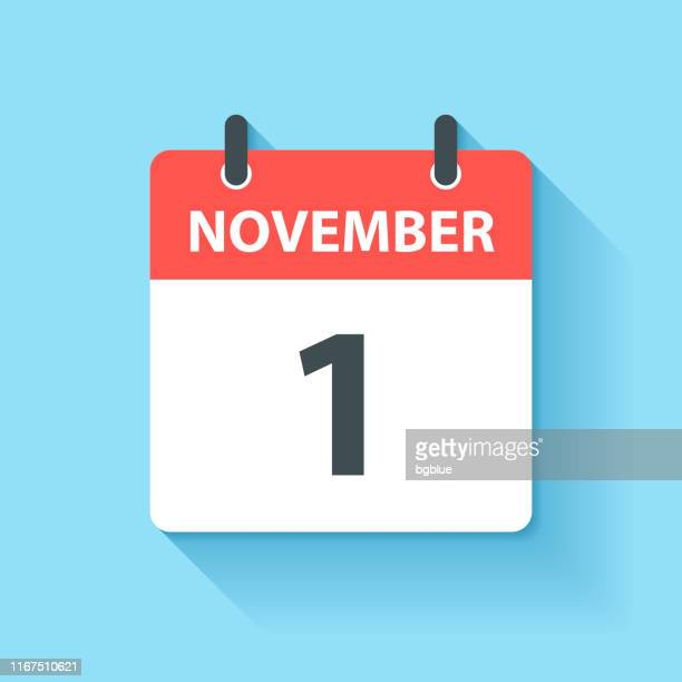 november 1 - daily calendar icon in flat design style - november stock illustrations