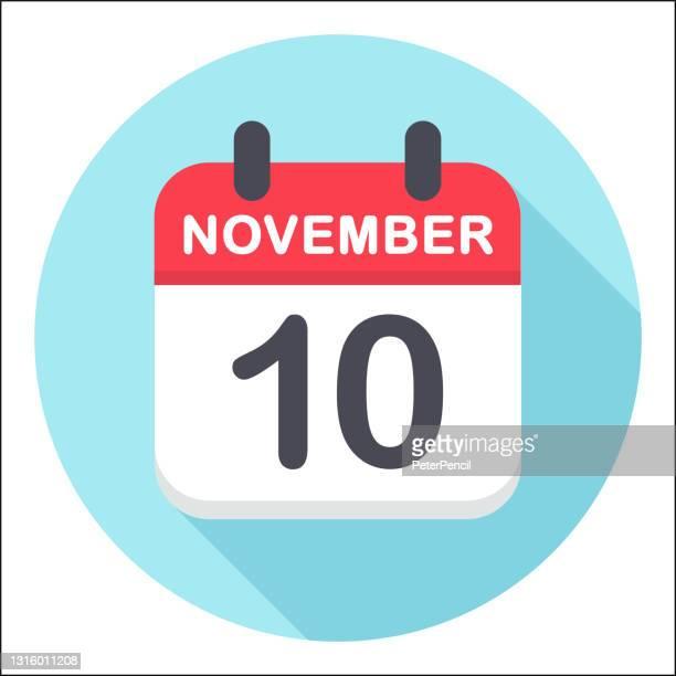 bildbanksillustrationer, clip art samt tecknat material och ikoner med 10 november - kalenderikon - runda - round ten