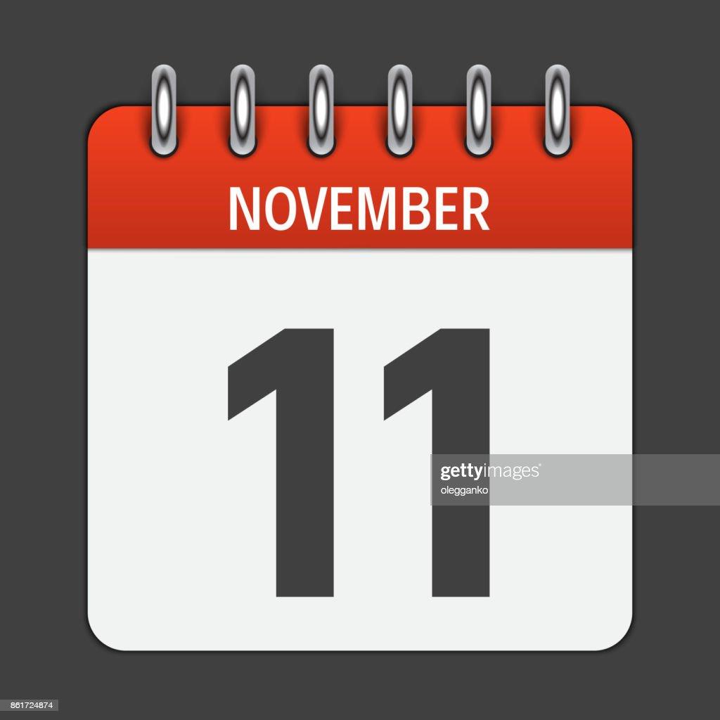 November 11  Calendar Daily Icon. Vector Illustration Emblem. E