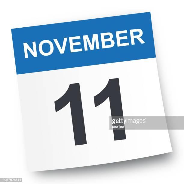 ilustrações de stock, clip art, desenhos animados e ícones de november 11 - calendar icon - novembro