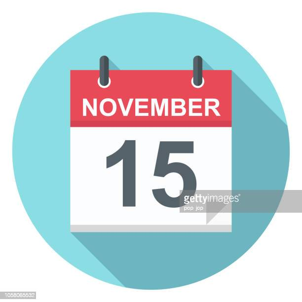 november 15 - calendar icon - november stock illustrations