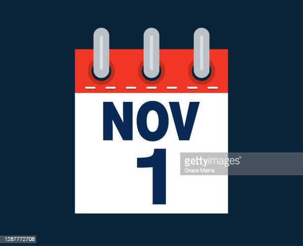 1. november kalenderdatum des monats - tag 1 stock-grafiken, -clipart, -cartoons und -symbole