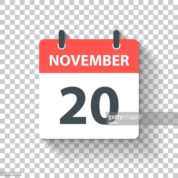 november 20 - daily calendar icon in flat design style - november stock illustrations