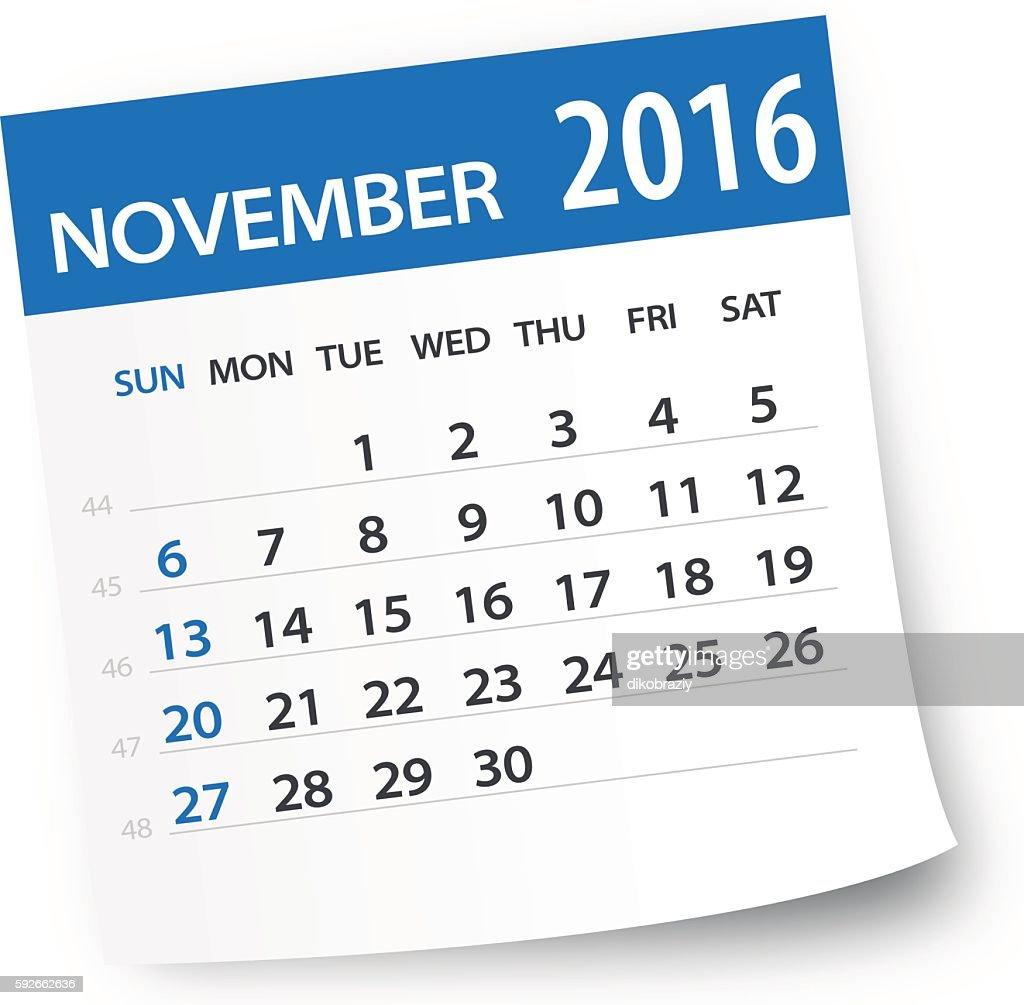 November 2016 calendar leaf - Illustration