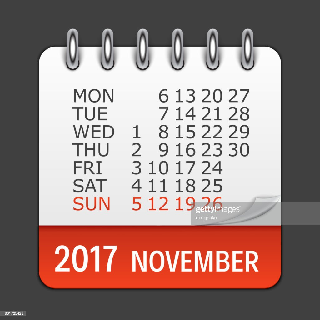 November 2017 Calendar Daily Icon. Vector Illustration Emblem. E