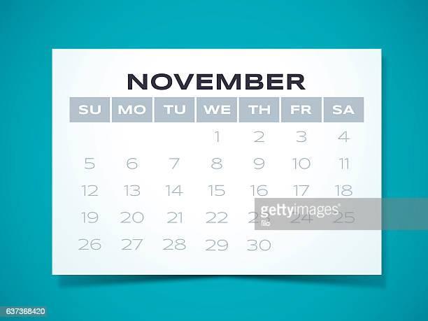 november 2017 calendar - monthly event stock illustrations